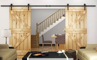 244CM 400CM Heavy duty Arrow Wheel Rustic Black Double Sliding Barn Rail Door Track System Hardware To Hang 2 Doors