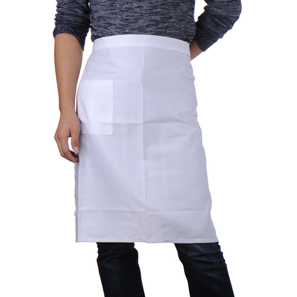 White apron cotton - Womem Men Mujer Hombre Short Sleeveless Chef Professional Waist Aprons Cotton Kitchen Waist Aprons China