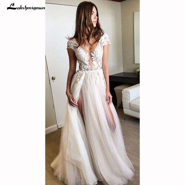 Cap Sleeve Deep V-neck Wedding Gown With Appliques Sexy Split 2018 Tulle Wedding Dresses Robe De Mariage Bridal Gown