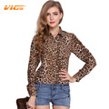 VICVIK Brand Women Leopard Chiffon Shirt Plus Size Blouse Lapel Loose Long Sleeved Spring Autumn Fashion Clothing Elegant Tops