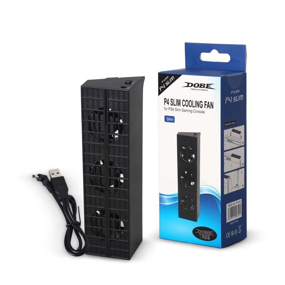 JRGK PS4 Ventilador De Refrigeração Magro Console Cooler Termostato Inteligente PS4 4 Fãs Sistema de Estação para Sony Playstation 3 Slim