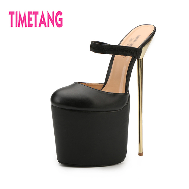 3557fb1f2b946 US $72.99 |TIMETANG Summer Woman Slides 22cm High Thin Metal Heel Drag  Queen Shoes 9.5cm High Platform Lady/T Stage/Party/Cosplay Big 40 50-in ...