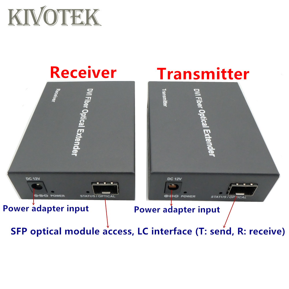 Image 3 - HD1080p DVI Extender Sender Transmit/Receive DVI+Audio Signal by Single Mode Fiber Cable 2KM LC Connector For CCTV Free Shipping-in Computer Cables & Connectors from Computer & Office
