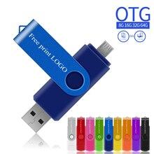Usb флеш-накопители OTG флеш-накопители 32 Гб флешки персонализированные usb флешки 128 ГБ 4 ГБ 8 ГБ 16 ГБ 64 ГБ для смартфонов с металлическим логотипом
