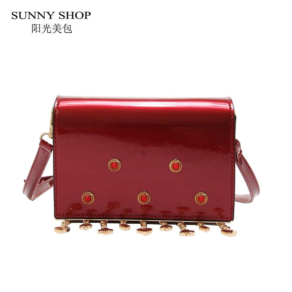 SUNNY SHOP Fashion Patent Leather Bag Women Crossbody Tassel Mini Ladies Designer Bag With Studs 2018 Beach Sling Bag Pink Brown