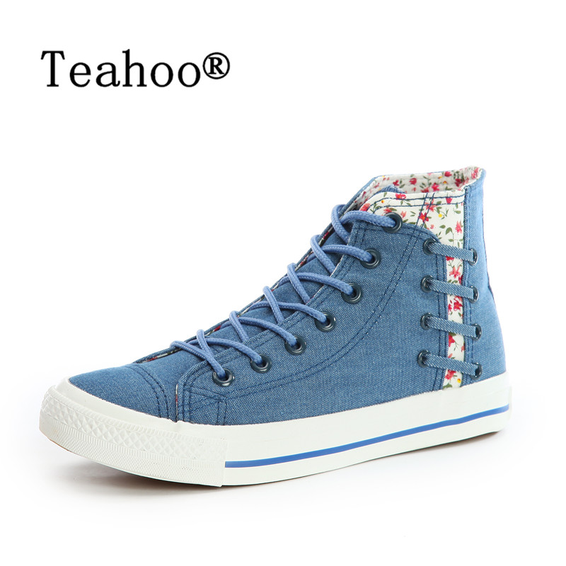2018 New Fashion Women High Top Canvas Shoes Women's Denim Ankle Boots Lace Up Ladies Shoes Ankle Denim Canvas Boots Shoes Woman new arrival women high top lace up denim casual shoes handmade sewing big rhinestone canvas ankle boots height increasing shoes