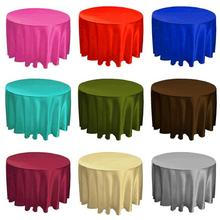 Satin Table Cloth Round 90  110 118 Inch For Wedding Decoration Hotel Fabric Colorful