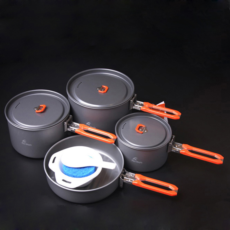 ФОТО Camping Cookware 4-5 Person Camping Pot Set Outdoor Team Picnic Cooking Aluminum Cookware Sets 1034g Fire Maple Feast-5