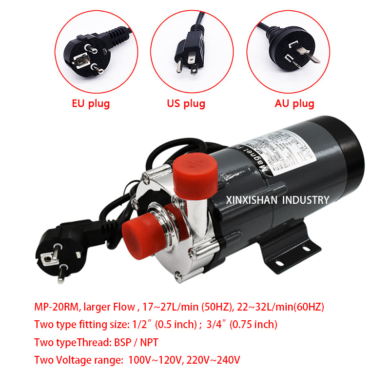 304 Stainless Steel Magnetic Drive Water Pump MP-20R Brewing Pumps Home Brew Beer High Temperature 140 C, 1/2