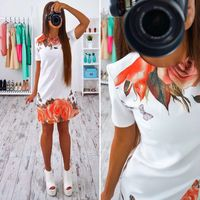 Ybenlow Summer Dresses 2017 Casual Brief Style Straight Dresses Flower Printing O Neck Short Sleeve Mini