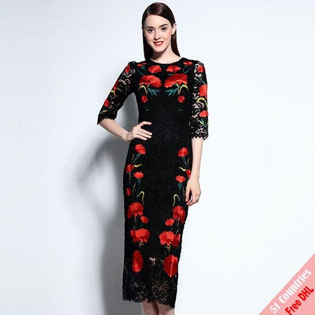 5e8762aeb63f8 Runway Designer Fashion Dress Women s Half Sleeve New Vintage Bodycon Slim  Sheath Gorgeous Lace Embroidery Black Dress Free DHL