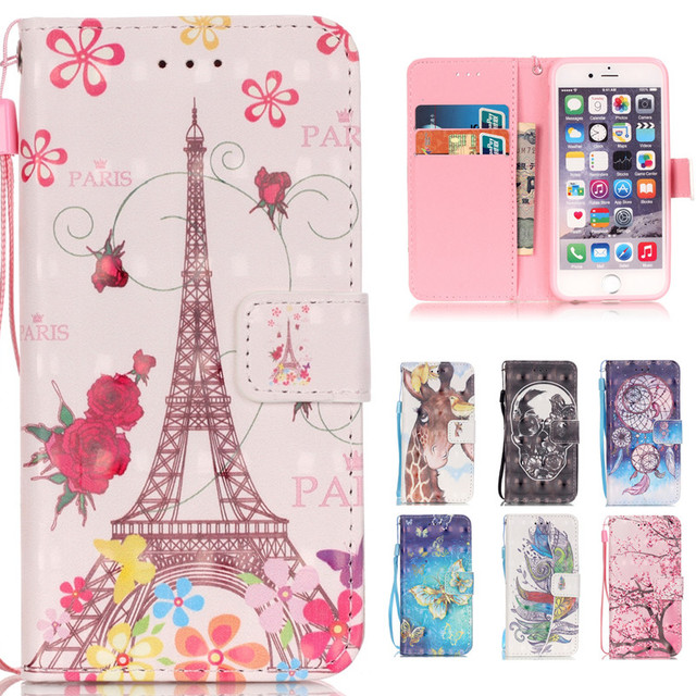 cheaper 3e0f5 06faf US $4.34 11% OFF|For Iphone 7 3D Cute Cartoon Skull Leather Wallet Strap  Flip Funda Case For Apple Iphone 5 5s SE 6 6s 6plus 6s Plus 7 Back Cover-in  ...