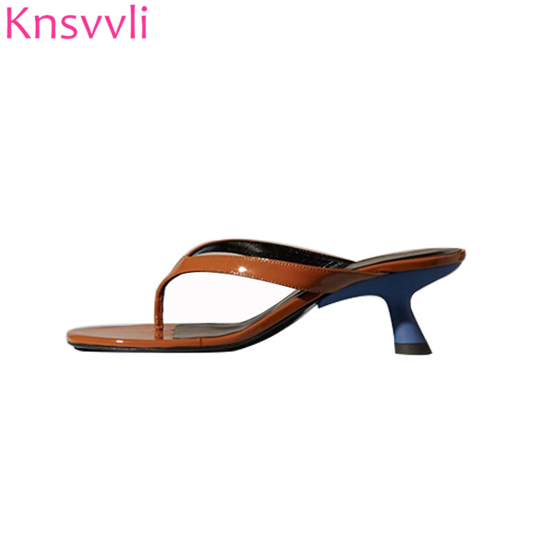 coupon codes size 7 to buy US $47.58 35% OFF|Knsvvli Summer Low Heels Flip flops Women Shoes Brown  Black Patent leather Casual Beach Shoes Ladies Strange Kitten Heels  Mules-in ...