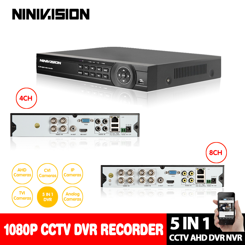 NINIVISION аналоговый Высокое разрешение HD 1080 P 8CH AHD HVR TVI CVI DVR 5 In1 Hybrid DVR P2P облако Поддержка 2.0MP AHD-H AHD Камера