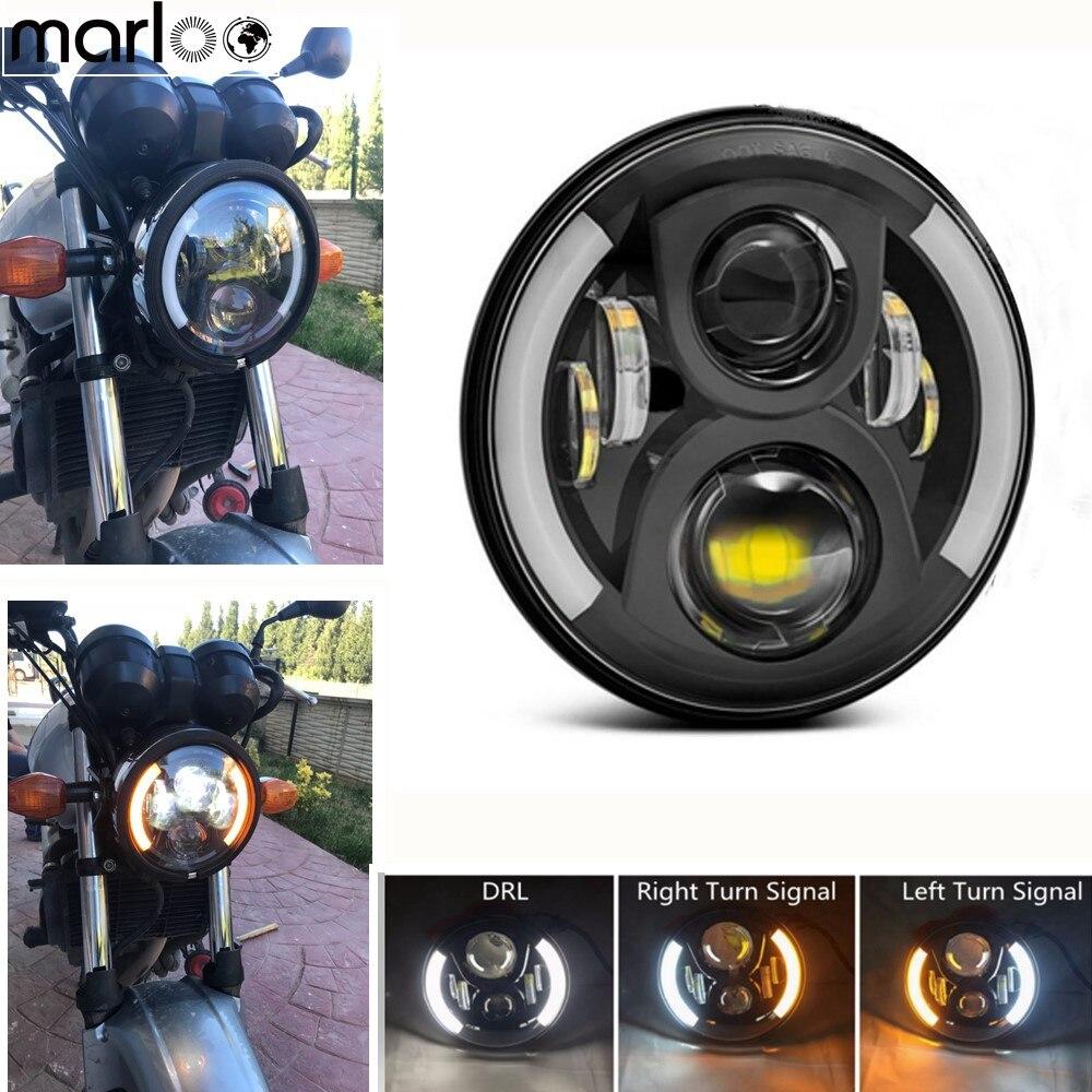 Motorycle 7'' Led Headlight H4 Headlamp Amber Turn Signal Angle Eyes Indicators White DRL 60W For Lada Niva 4x4