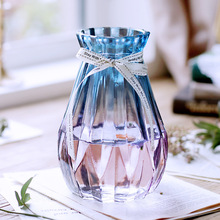 Creative Nordic glass vase European transparent flower arranger Water culture household wholesale