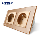 LIVOLO 16A French Standard, Wall Electric / Power Double Socket / Plug, Gold Crystal Glass Panel,VL-C7C2FR-13
