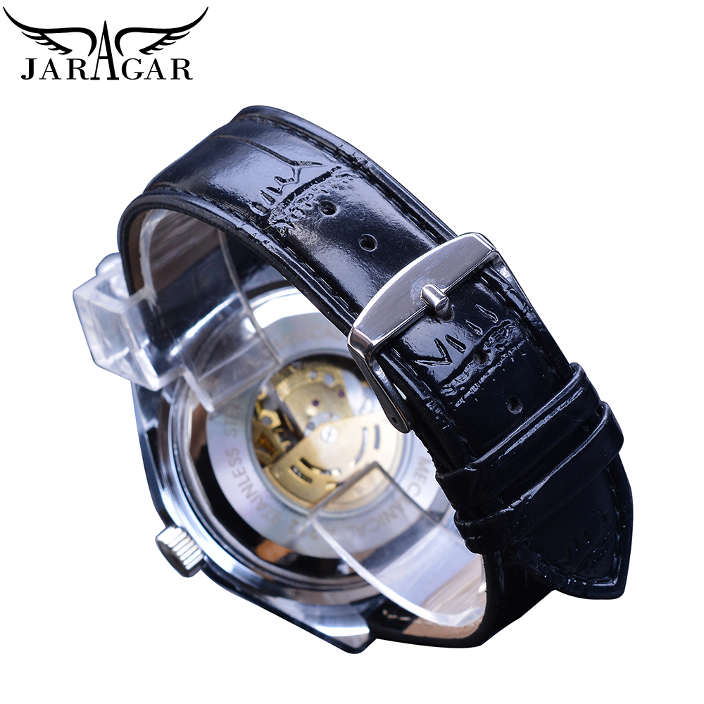 Jaragar Golden Skeleton Mens Watch Automatic Self Wind Silver Bezel Mechanical Sport Leather Strap Wrist Relogio Male Clock Saat in Mechanical Watches from Watches