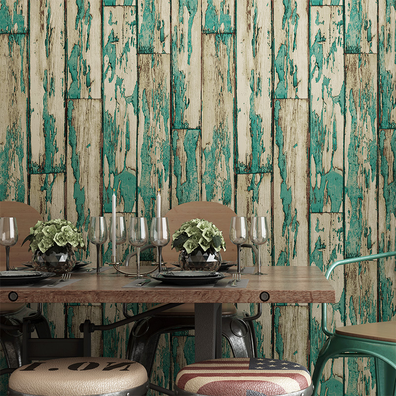 ФОТО PVC Waterproof Imitation Wood Board Striped Wall Paper Roll Chinese Style 3D Restaurant Cafe Clothing Store Backdrop Wallpaper