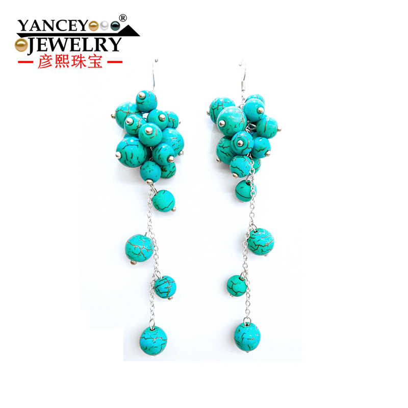 YANCEY Exclusive design Handmade natural turquoise S925 Sterling Silver Drop Earrings, Skillful manufacture New popular elements