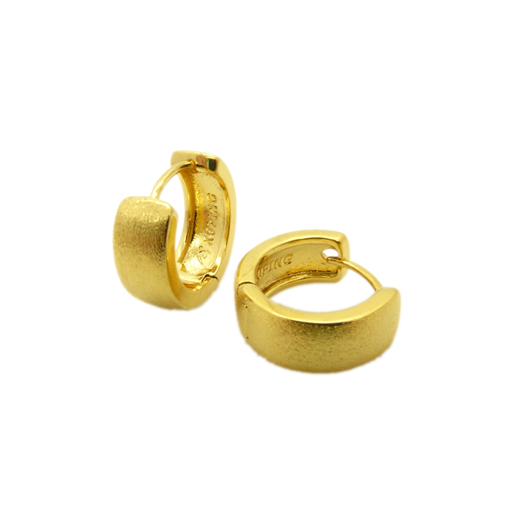Classic Fashion Crystal Yellow Hoop Gold Filled Womens Huggie Earrings