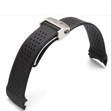 22mm 24mmTOP Rubber Watchband Super-thin Silicone Silver Stainless Steel Fold Deployment Buckle Watch BANDS Strap Free Shipping