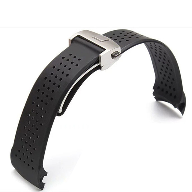 22mm 24mmTOP Rubber Watchband Super-thin Silicone Silver Stainless Steel Fold De