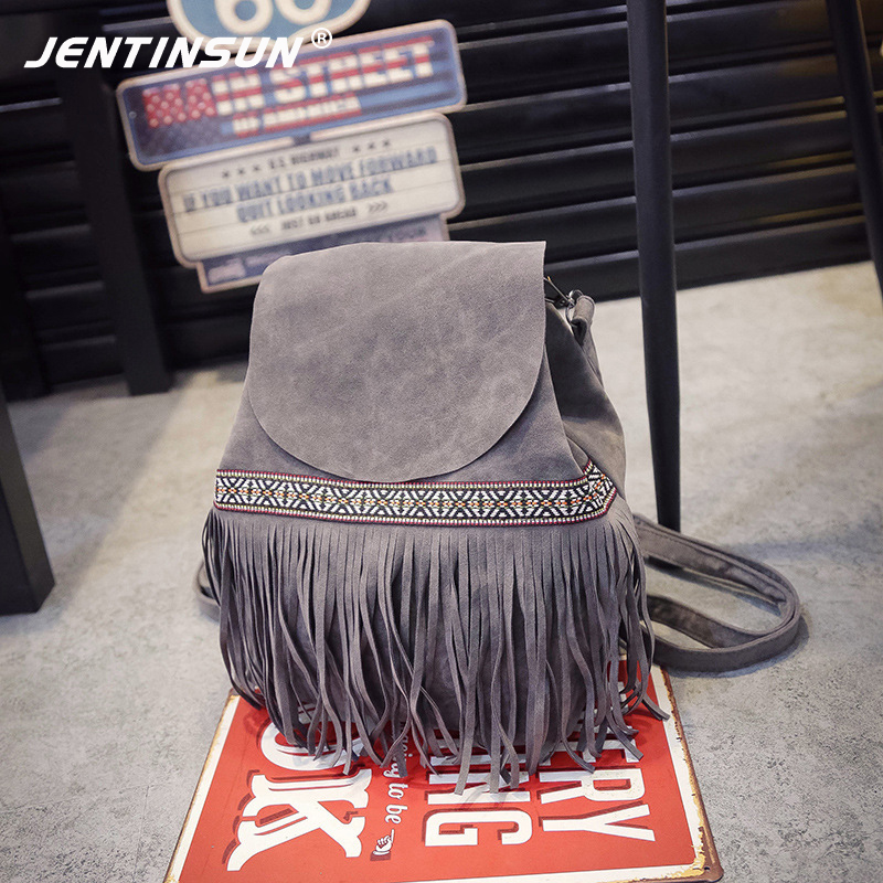 Tassel Women Backpack Fashion New School Bags for Teenagers Girls Drawstring Bag Backpacks Rucksack Travel Bag Mochila Escolar