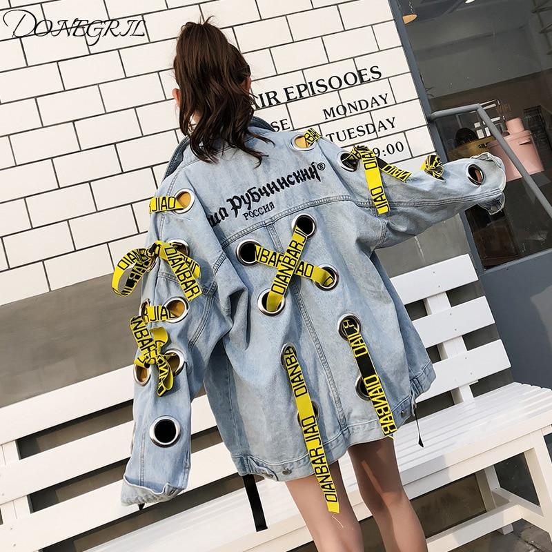 2019 femmes automne vêtements ruban décoration Denim veste lâche manteaux et vêtements d'extérieur lettres imprimer Jeans manteau
