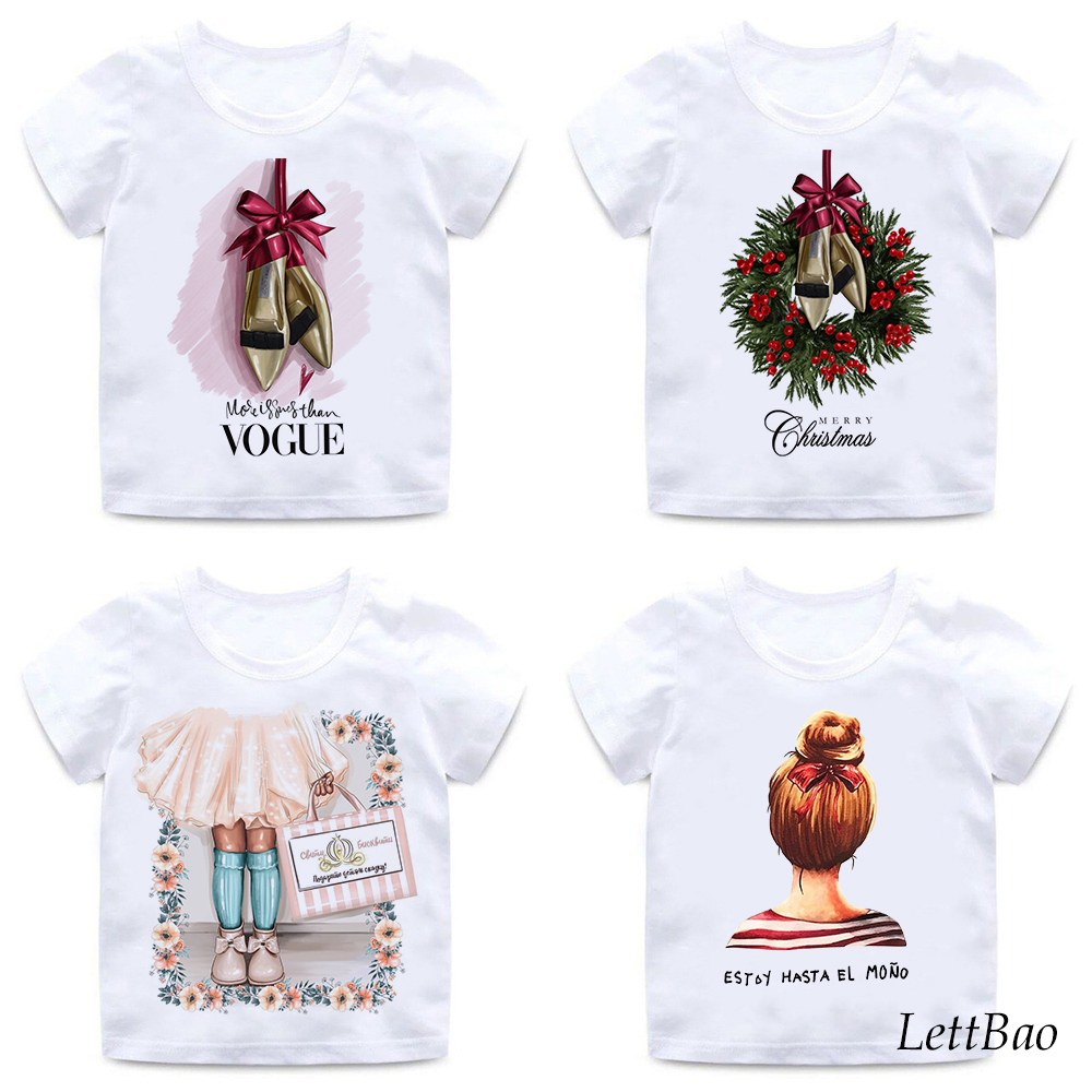 Kawaii Princess T-shirt Christmas Korean Little Girls T Shirts 2 To 12 Years Summer Wihte Cotton Kids T Shirts For Girl
