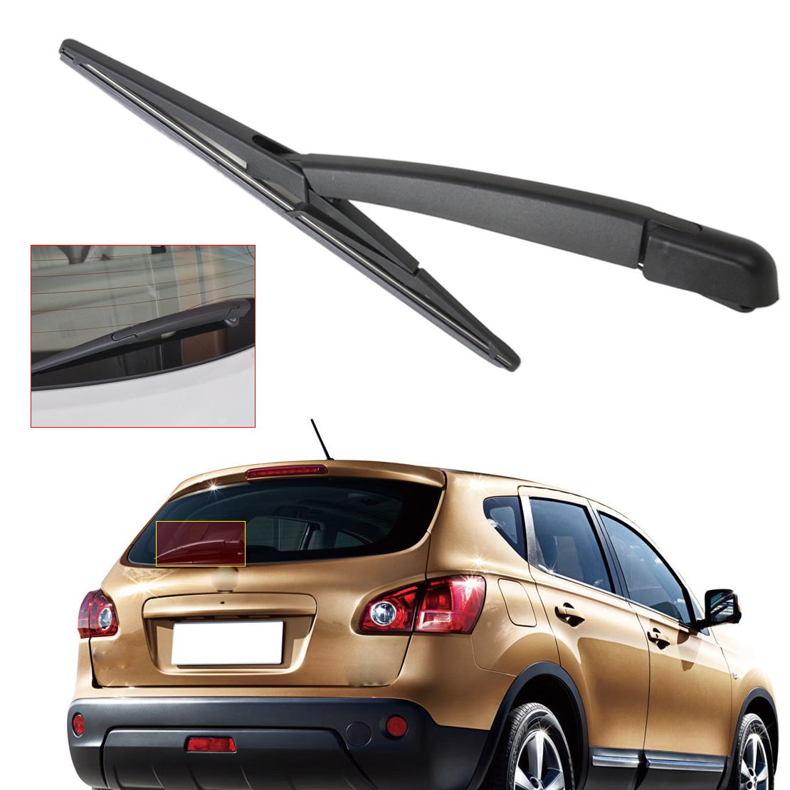 CITALL Car Rear Window Windshield Wiper Arm + Wiper Blade For Nissan Qashqai 2008 2009 2010 2011 2012 2013