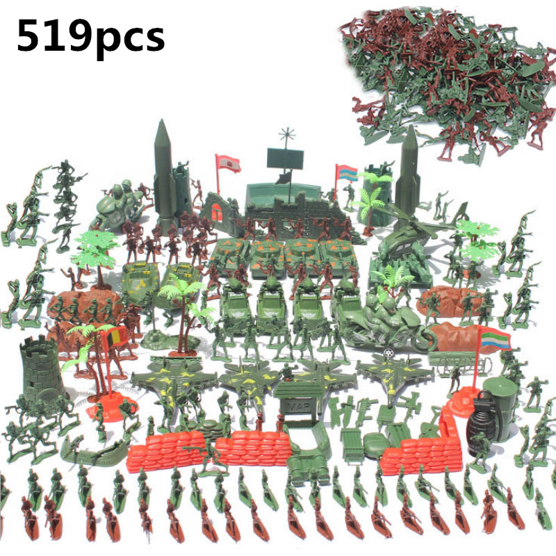 519pcs Plastic Military Soldier Action Figure Set Toy Boys Games Mini Army Truck Tank Weapon Model Educational Toys Sandbox free shipping super affordable military base 310pcs set plastics toy soldier sand table model army soldier boy christmas gifts