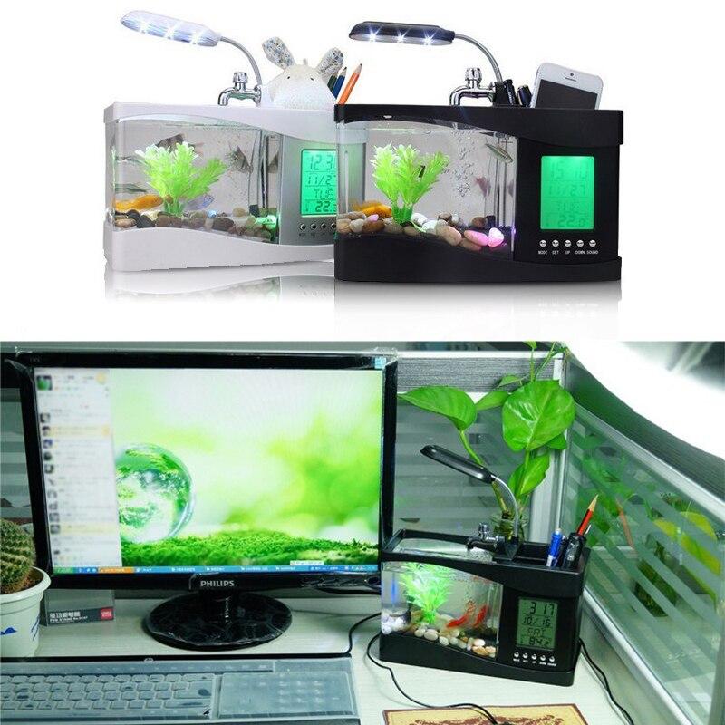 QMJHVX USB мини аквариум настольные электронные аквариум с ЖК-дисплей Таймер Часы светодиодный Календарь Acrylic Офис <font><b>Acquario</b></font>