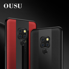 OUSU Business Luxury Leather Phone Case For huawei P20 lite P10 plus Mate 20 pro 10 Honor 8X Nova 3 Tempered Glass Cover