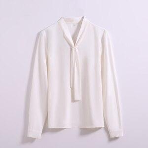 Image 5 - New Fashion Temperament Women Clothing Long Sleeve Blouses Formal Slim Tie Chiffon Shirt Office Ladies Plus Size Tops Navy Blue