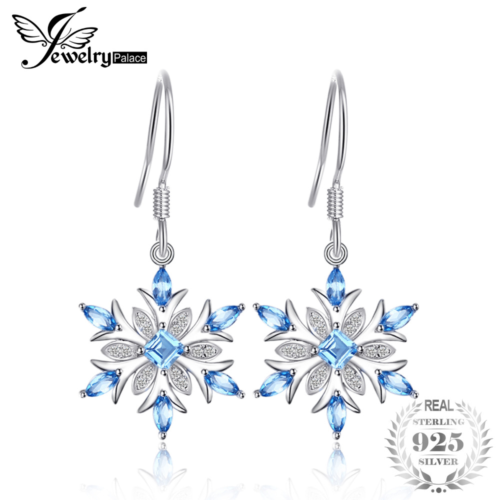 JewelryPalace Snowflake 1.4ct Genuine Swiss Blue Topaz Dangle Earrings 925 Sterling Silver Earring for Women Fashion Jewelry diva 5 0ct natural swiss blue topaz sterling silver feather dangle earrings