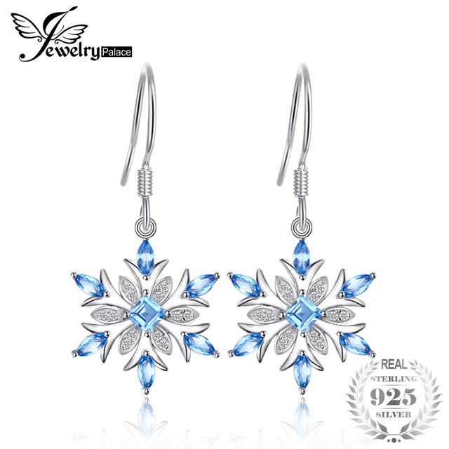 JewelryPalace Snowflake 1.4ct Genuine Swiss Blue Topaz Dangle Earrings 925 Sterling Silver Earring for Women Fashion Jewelry