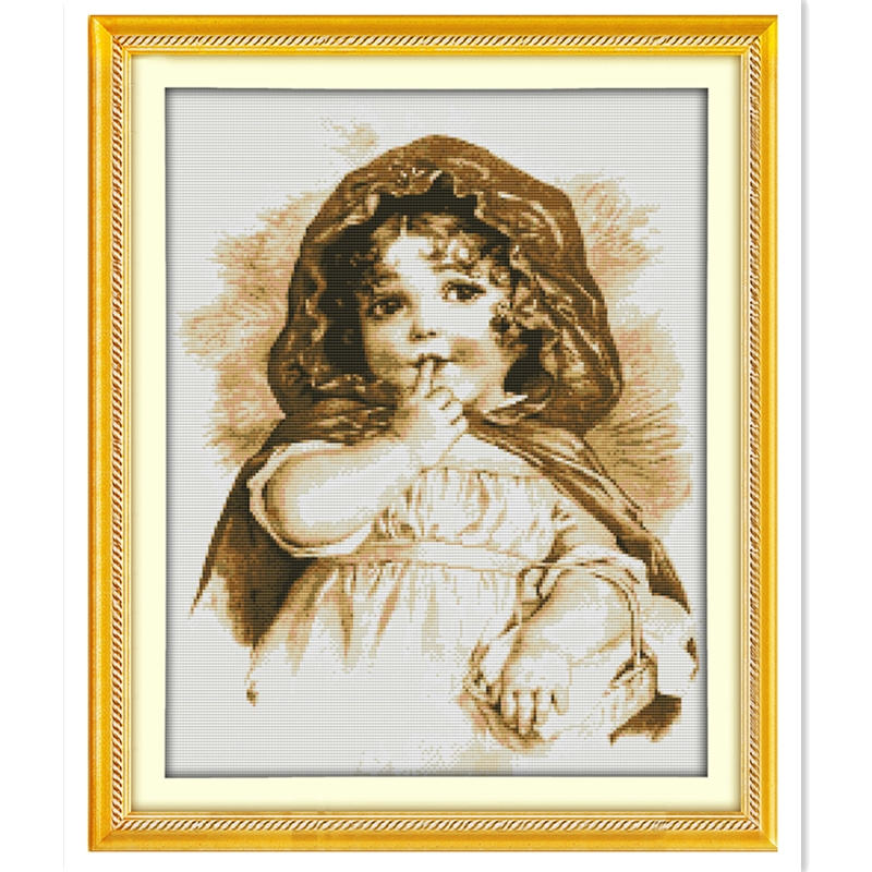 The GIrl With The Finger Home decoration Chinese Counted Cross Stitch Pattern Cross stit ...