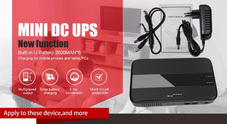 45W Mini Portable UPS with 151924VDC POE (Power Over Ethernet) & 5912VDC Interface Wide 85~265VAC Voltage Adapter Built-in_7