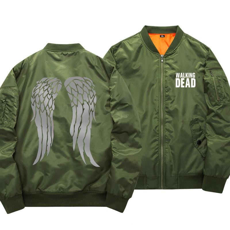 The Walking Dead Baseball Jackets daryl dixon wings Rick Grimes Print uniform coat Green For Men And Women S-5XL High Quality