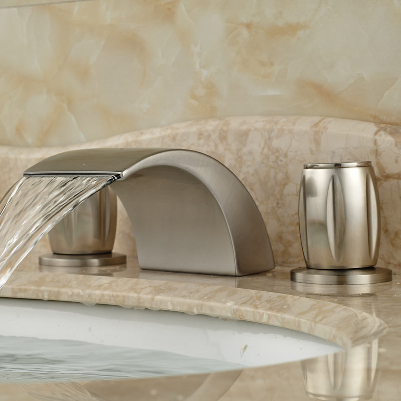 Dual Handle Curve Spout Waterfall Basin Mixer Taps Deck Mount 3 Holes Bathroom Faucet Brushed Nickel