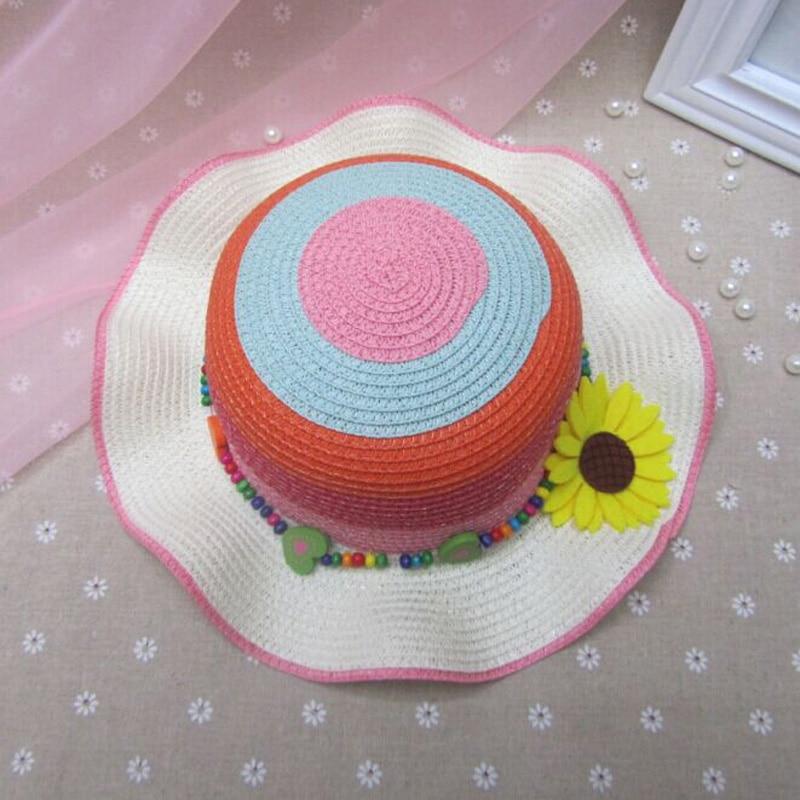 Mode pencocokan warna-warni Topi Matahari Untuk Anak-anak Musim Panas Gadis Topi Jerami bunga matahari Kuning Topi lingkar 53-54 cm