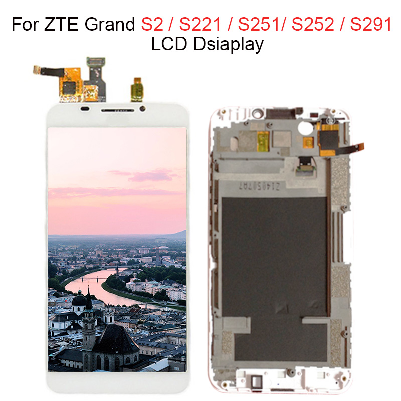 100% Tested Full LCD Display Touch Screen Digitizer Assembly For ZTE Grand S2 S 2 II S251 S291 S252 S221 lcd with frame
