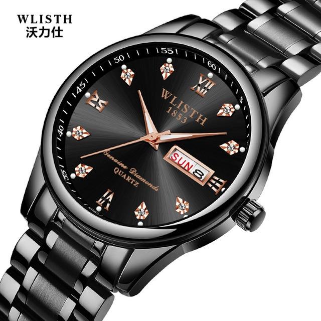 bad610de15b Relogio masculino Preto Relógio de Quartzo dos homens Relógios de Negócio Masculino  Relógios Pulseira de Aço
