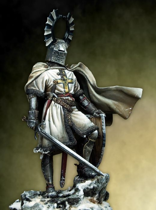 Assembly  Unpainted  Scale 1/18 90mm ancient Teutonic Knight 90mm   figure Historical  Resin Model