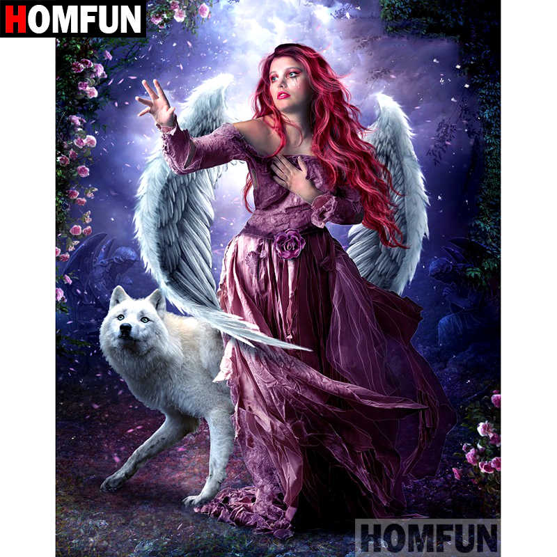 "HOMFUN 5D DIY Diamond Painting Full Square/Round Drill ""Angel fox"" Embroidery Cross Stitch gift Home Decor Gift A08462"