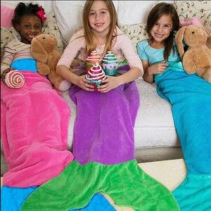 Image 1 - Inverno tubarão sereia dormir cobertor swaddle macio lã crianças saco de dormir presente de aniversário natal para crianças