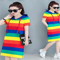 2019 new wave spring fashion loose rainbow wide stripe long shirt short sleeved summer fashion dress DW7