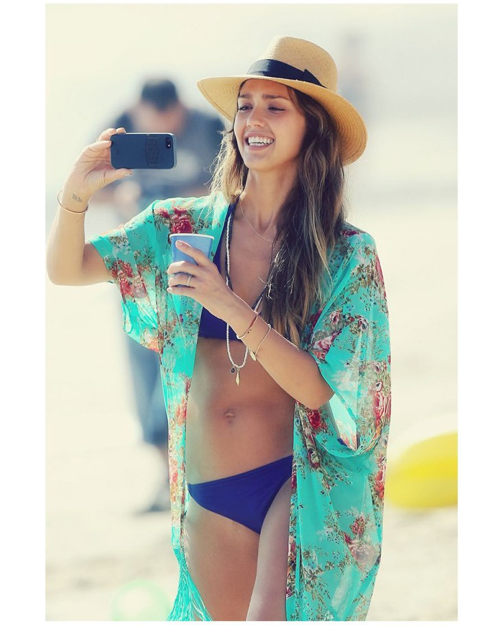 Chiffon Bathing Suit Cover Ups Pareo Tunic Beach With Tassel Pareo Robe Floral Print Kaftan Sexy Hawaiian Robe