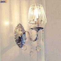 Lámpara de pared LED de Cristal moderna IWHD  lámpara para dormitorio  sala de estar  iluminación para el hogar  candelabro  lámparas de pared  candelabro
